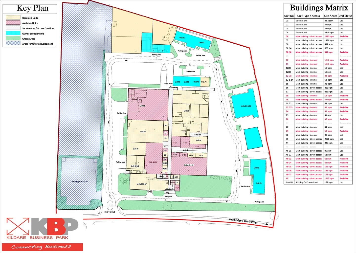 Available Units Site Plan Kildare Business Park